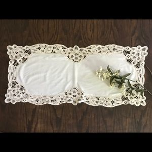 SMALL HAND-MADE BATTENBURG LACE TABLE TOP/RUNNER